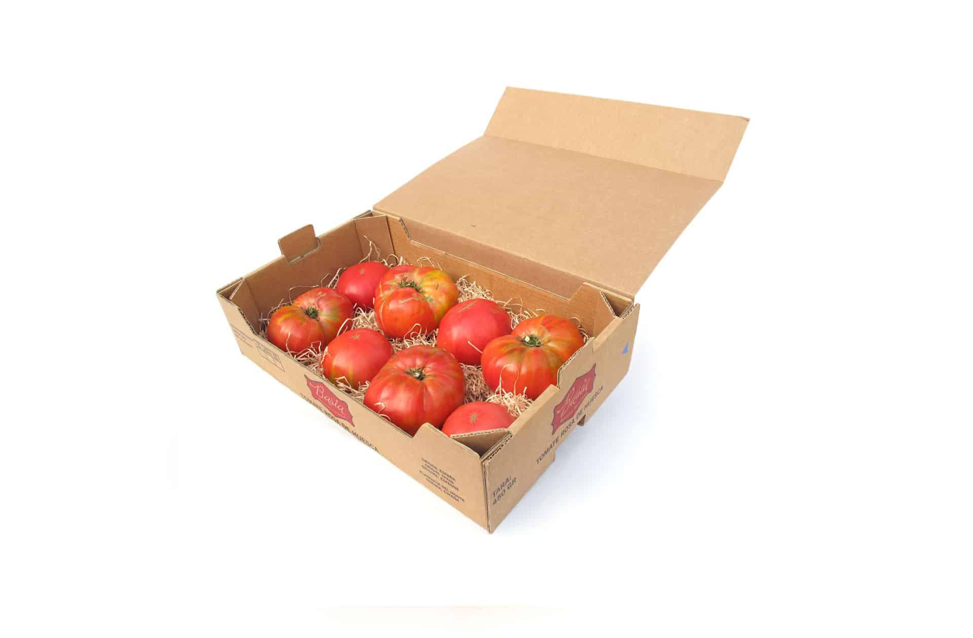 tomate basia rosa caja abierta Tomate Basia, tomate rosa de Huesca